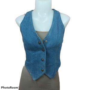 📣2/36$📣 Vintage jeans vest snap buttons